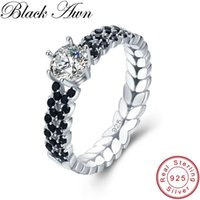 Cluster Rings [BLACK AWN] Vintage 2.1g 925 Sterling Silver Jewelry Black Spinel Personalized Leaf Engagement For Women Bijoux Bague C480