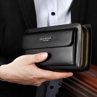 Wallets Men Business Wallet Multi-function Card Holder Waterproof Double Zipper Bag Carteira Masculina Couro Com Corrente #3