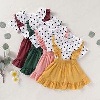 ملابس الاطفال الفتيات يتسابق الأطفال دوت طباعة قمم + كشكش حزام اللباس 2 قطعة / مجموعات 2021 الصيف أزياء بوتيك ملابس الطفل مجموعات