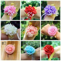 인공 꽃 웨딩 장식 신부 손 꽃 신부 들러리 자매 손목 corsage 거품 장미 시뮬레이션 fakeflowers wll145