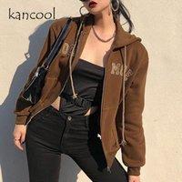 Kancool Brown Zip Up Sudadera Mujer Chaqueta Fleece Y2K Sudaderas con capucha de gran tamaño con bolsillos Vintage 90s de manga larga Jerseys 2021