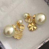 Pearls earrings designer luxury stud ladies brass gilded diamonds 925 silver needle anti allergy party exquisite gift counter quality AAAAA hot brand studs