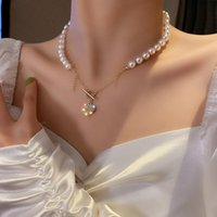 Chains Korea Fashion Jewelry Zircon Love Imitation Pearl Necklace Temperament Sweet Clavicle Chain Light Luxury High Female.