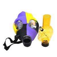 Silicone Smoke Gas Mask Pipes Shisha Hookah Tubi Acqua Acqua FDA Skull Silicone Acrilico Bong Tubo Silicone Strutture per olio in silicone Smoking Herb Spoon Tubi