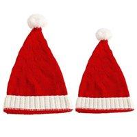 Rote Farbe Gestrickte Weihnachtsmütze Weiße Grenze Pom Pom Weihnachten Kappe Mützen Kinder Kinder Jungen Mädchen Frauen Männer Warme Winter Beanie Skull Caps Sport Headwear G96loy6