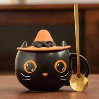 300-400ml Starbucks Cup Luxury Ceramic Morning Mug with Starbuck Spoon Milk Coffee Tea Breakfast Holiday Halloween Gift Mugs