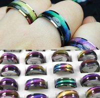 50pcs Rainbow Blue Fashion Stainless Steel Rings Men Women Fashion Charm Rings Color Mix Wholesale Jewelry lots