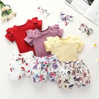 Clothing Sets 2021 Summer Toddler Infant Baby Girls Cotton Casual Outfits Set Letter Bodysuit+Floral Shorts+Headband Cute Clothes 0-24M
