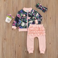 Clothing Sets Baby Kid Girls Stylish Clothes Floral Printed Sweatshirts+ Pink Ruffle Long Pant With Headband Outfits For