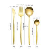 24 pcs conjunto de utensílios de mesa de ouro de aço inoxidável conjunto faca faca garfo colher de talheres cofre definido conjunto presente fwe5158
