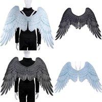 Decoración de fiesta Halloween 3D Angel Alas Mardi Gras Theme Cosplay para niños adulto Gran traje de diablo negro