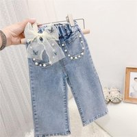 Jeans Fashion Girls Kids Princess Pant Autumn Bow Beaded Children Baby Denim Wide Leg Pants Trousers S12961