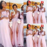 2021 저렴한 섹시한 국가 블러시 핑크 신부 들러리 드레스 깎아 지른 보석 목 레이스 아플리케의 하녀 명예 드레스 분할 정장 이브닝 가운 착용