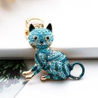 nouvelle couleur strass dessin animé chat créatif clé métal clé fob personnalisé voiture pendentif fabricant vente directe vente petit cadeau