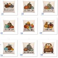 Halloween Pumpkin Pillow Case Biancheria in lino Stampato Camion Flower Autunno Coperture di cuscino stagionale Casi Decorativi 18 * 18 pollici DWD9619