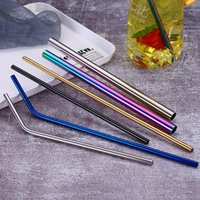 7 ألوان 215 * 6 ملليمتر الفولاذ المقاوم للصدأ القش المعدني قابلة لإعادة الاستخدام الشرب عازمة مستقيم نوع القش منظف فرشاة المنزل حزب بار الملحقات LLA445