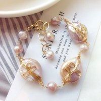 Link, Chain Luxury Baroque French Vintage 14k Gold-plated Freshwater Pearl Winding Bracelet Female Japanese Handmade