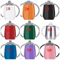 Mugs 12oz 360ml Sippy Pacifier Cup Stainless Steel tumbler lid with Handle Vacuum Insulated Leak Proof Travel Baby bottle LJJK 6ER8