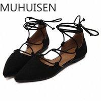Muhuisen الربيع / الخريف الدانتيل يصل النساء الأحذية عارضة الأحذية أزياء المرأة الشقق النساء 2018 Y1Q4 #
