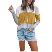 Women's Hoodies & Sweatshirts Women Hoodie Fashion Casual Patchwork Round Neck Long Sleeve Pockets Hat Drawstring Sweater Mujer Moletom