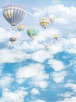 Blauer Himmel Weiße Wolken Ballons Kinder Vinyl Fotografie Kulissen Neugeborene Baby Fotokabine Hintergründe für Kinder Studio Requisiten