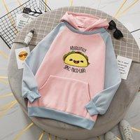 Women's Hoodies & Sweatshirts Cartoon Patchwork Hoodie Streetwear Oversized Pink For Women Fashion Korean Pocket Pullover Female