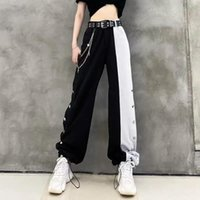 Women's Pants & Capris Arrival Women Fashion Contrast Cargo Female Elastic Waist Wide Leg Trousers Ladies Korean High Street Pant Plus Size