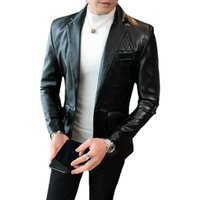 Men's Suits & Blazers Black And Red Blazer Autumn Long Sleeve Suit Collar Leather Jacket Solid Color Casual Slim Fashion