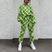 European and American plaid pattern casual suit autumn and winter clothing 3D digital printing