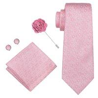 Solid Pink Color Necktie Set For Men 100% Silk Jacquard Woven 8.5CM Width Men's Tie For Man Male Wedding Party Ties XH-327 H1018