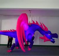 Hanging Inflatable Dragon With Wing LED Strip have CE blower For Nightclub Ceiling or Music Party Decoration
