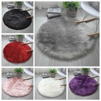 Carpets Faux Fur Rugs Kids Room Long Plush For Bedroom Shaggy Area Rug 40*40cm Fluffy Round Living Decor