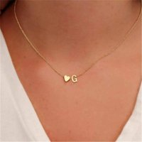 Pendant Necklaces Design Women's Fashion Heart Metal Letter Necklace 26 Letters Love Clavicle Neck Chain Party Jewelry Gifts Accessories