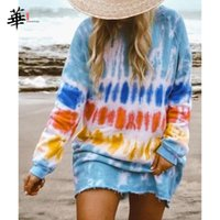 Casual Dresses Long Sleeve Dress Tie Dye Women Fall Clothes For 2021 Mini Plus Size Clothing Vestidos
