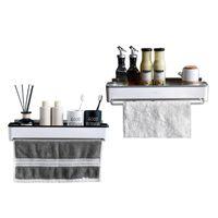 Towel Racks Storage Rack Wall Mounted Holder Stainless Steel Space Saving Bathroom Items Bedroom Kitchen Organizer Accessories