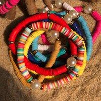 Ювелирные изделия ручной работы оптом растягивающие жемчужный браслет женский цвет мягкие гончарные браслеты браслет пляж ветра