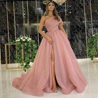 2021 Dusty rose élégante soirée robes formelles avec des robes formelles de Dubaï Fête robe de bal de bal arabe au Moyen-Orient une épaule High Split organza