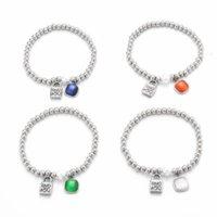Perline, fili in acciaio inox 5mm perline serratura perla perla pietra naturale Pietra a quattro colori Bracciale da uomo opale a quattro colori und de 50 gioielli gioielli moda regali