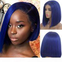 Parrucca blu Sintetico Glueless Glueless Breve Laccio anteriore anteriore Bob Partigli Resistente al calore Fibra a basso costo Breve Bob Tagliare la parrucca di lacciafront per le donne nere