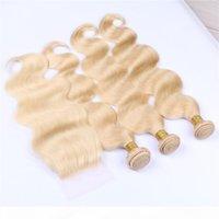 Rubia Tejidos con cierre Puro # 613 Color Body Body Wave Human Hair Human 3 Bundles Extensions con 1pc Blonde 4x4 Cierre de encaje 4pcs Lot