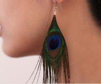 2021 Retro National Style Luxury Peacock Pendientes de plumas Color Pendientes silvestres Moda Tendencia
