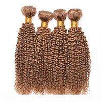 4 PCS 인간의 머리카락 묶음 변태 곱슬 27 # 꿀 금발 브라질 페루 말레이시아 버진 곱슬 인간의 머리카락짜리 저렴한 거래
