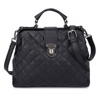 Fashion Plaid Rivets Design Pu Leather Crossbody Bags For Women Solid Color Shoulder Handbags Female Doctor Tote