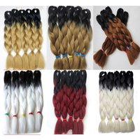 """2PCS Ombre Color 24"""" 100G Jumbo Braids Synthetic Hair Jumbo Hair Extension Afro Hair Products Two Tone High Temperature Braiding"""