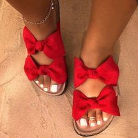 New arrival New Summer Women Sandals Silk Bow Flat Shoes Ladies Beach Shoes Slipper Outdoor Fashion Student Home Casual Slippers 35-43