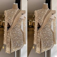 Champagne Evening Dresses cocktail Luxury Sequins Beads High Neck Long Sleeves Prom Dress Formal Party Gowns Custom Made Knee Length Robe de mariée