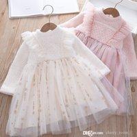Children lace princess dress 2021 autumn winter Mink velvet pearl gauze kids tutu dresses Girl fairy party clothes S1684