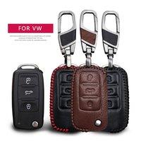 Deri Araba Anahtarı Kılıf Kapak Volkswage VW Polo Golf Passat için Tiguan Bora Jetta Lavida Koruma Anahtar Kabuk Cilt Çantası Sadece Kılıf