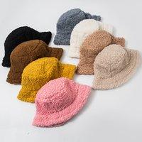 겨울 양동이 모자 양고기 가짜 모피 소녀 따뜻한 모자 두꺼운 봉제 어부 모자 2021 캐주얼 모자 아이 선물 7 색 z2347