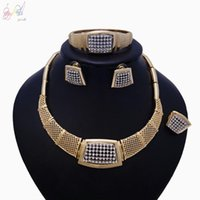 Earrings & Necklace Yulaili Women Costume Accessories Fashion Rhinestone Bangle Ring African Jewelry Sets Wedding Party Jewelery